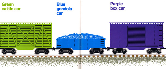 "interior image for Freight Train by Donald Crews: ""Green cattle car / Blue gondola car / Purple box car"""