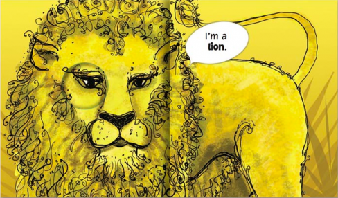 "interior page of I Spy With My Little Eye: ""I'm a lion."""