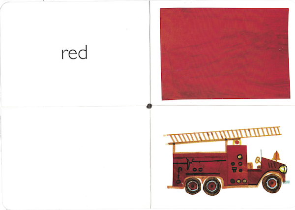 "interior from My Very First Book of Colors by Eric Carle: ""red"" and image of a red firetruck"