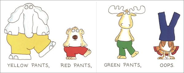 "interior page from Blue Hat, Green Hat: ""Yellow Pants Red Pants, Green Pants, Oops."""