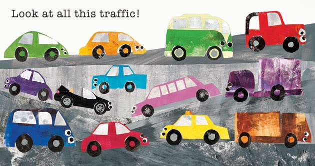 "interior page of Toot Toot, Beep Beep: ""Look at all this traffic!"""