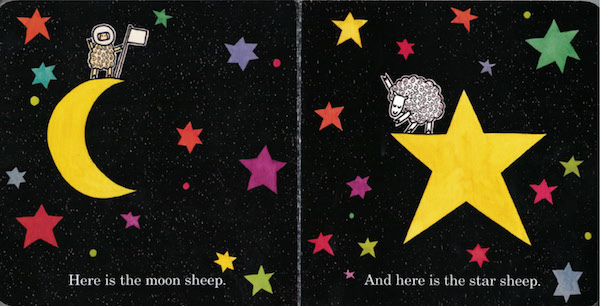 "interior page of Where is the Green Sheep:""Here is the moon sheep. And here is the star sheep."""